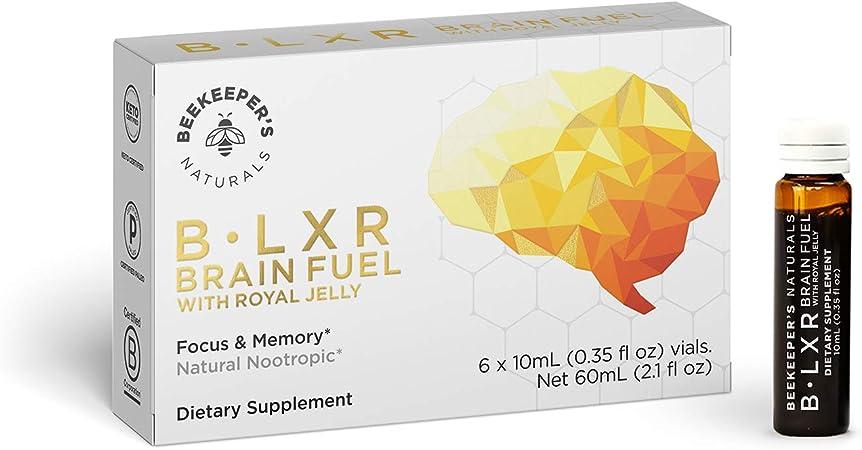 BEEKEEPER'S NATURALS B.LXR Brain Fuel - Memory, Focus and Clarity Liquid Formula, Supports Productivity - Royal Jelly, Ginkgo Biloba, Bacopa Monnieri - Keto Friendly, Gluten & Caffeine-Free, (6 ct)