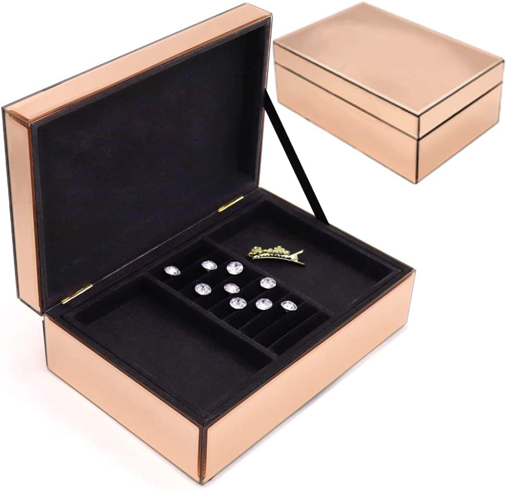 Meetart Champagne Rose Gold Color Glass Mirrored Jewelry Organizer Removable Two-Layers Storage Organizer Jewelry Holder High-end Luxury Big Mirror Box