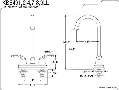 Kingston Brass KB6494LL Legacy Center Bar Faucet, 4-3 4 , Polished Chrome Polished Brass