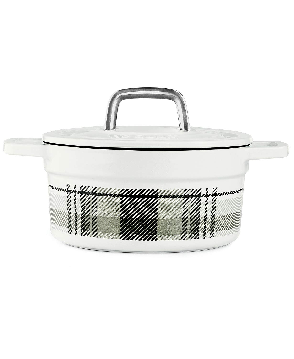 Martha Stewart Collector's Enameled Cast Iron Dutch Oven, 2 QT (1.89 L) Round Casserole (White/Grey Plaid)