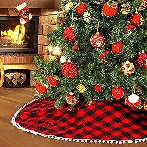 Farochy Christmas Tree Skirt Buffalo Plaid Rustic Tree Skirt Red and Black Xmas Tree Skirts with Pom Pom for Christmas Decorations 48 Inch
