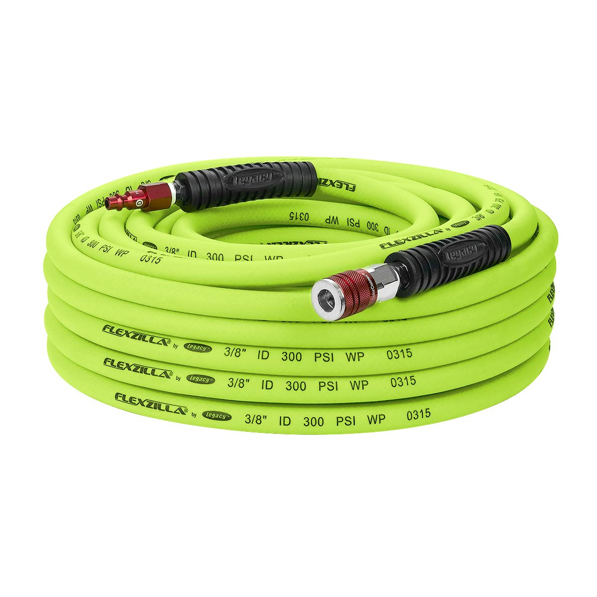 Flexzilla Air Hose with ColorConnex Industrial Type D Coupler and Plug, 3/8 in. x 50 ft, Heavy Duty, Lightweight, Hybrid, ZillaGreen - HFZ3850YW2-D