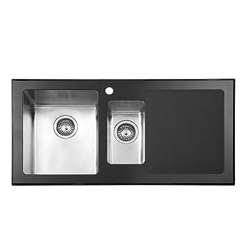 JASS FERRY - Fregadero de cocina (acero inoxidable, cristal negro de alta calidad, 1,5 cuenco medio, escurridor de mano derecha y colador, 1000 x 500 ...
