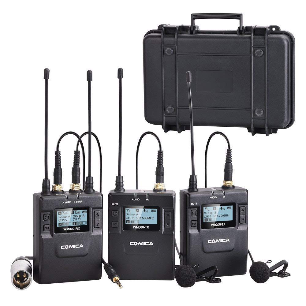 Comica CVM-WM300(A) 96-Channel Zinc Alloy UHF Rechargeable Wireless Dual Lavalier Microphone System for Canon Nikon Sony Panasonic DSLR Camera,XLR camcorder & Smartphone (394-Foot Range)(2TX+1RX) by comica
