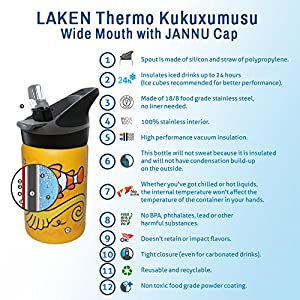 Laken Thermo Jannu Insulated Stainless Steel Kids Water Bottle Wide Mouth wit..., 12 Ounce