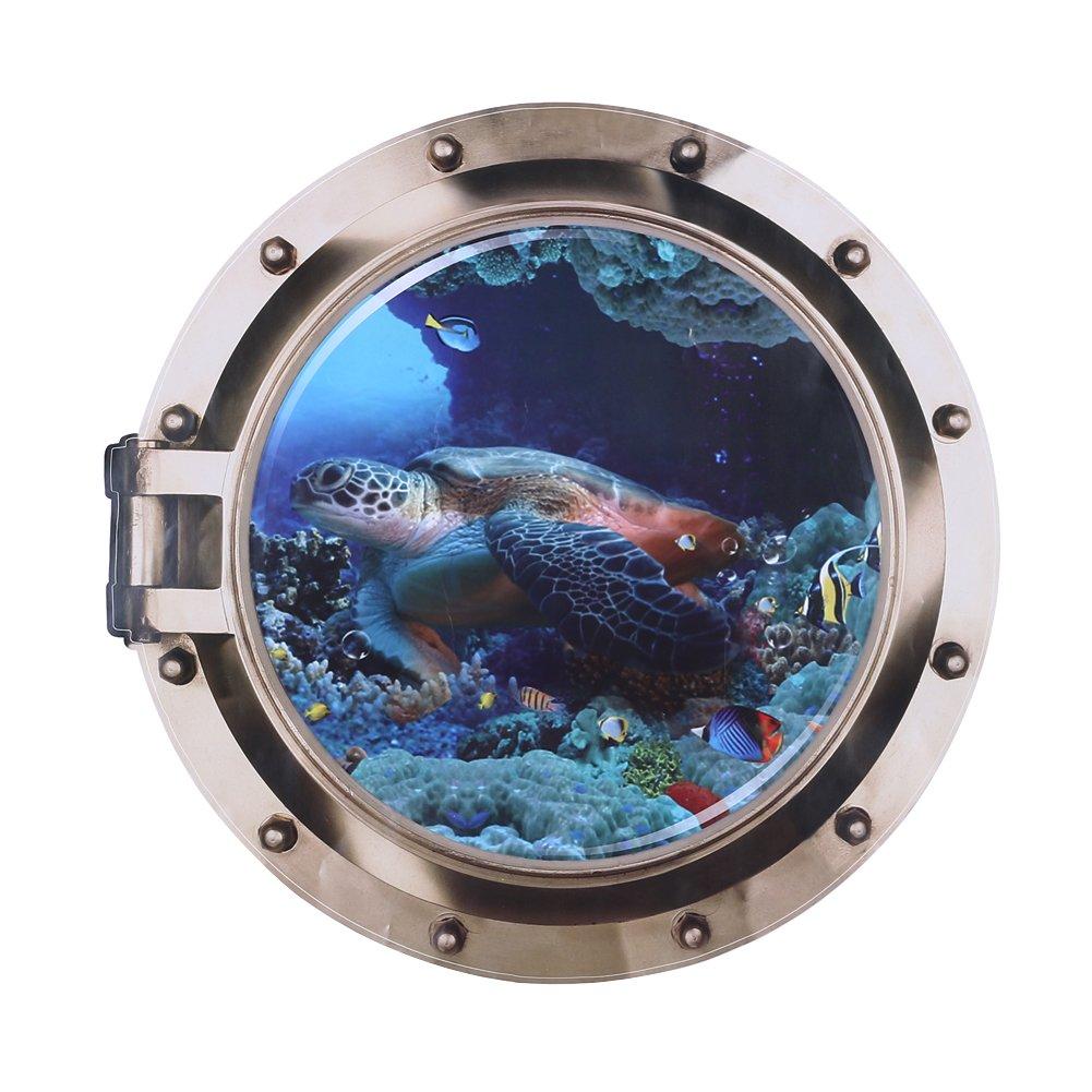 GLOBEAGLE Fish Ocean View Living Bedroom Wall Sticker Fake Window 3D Sea World 50 * 50cm