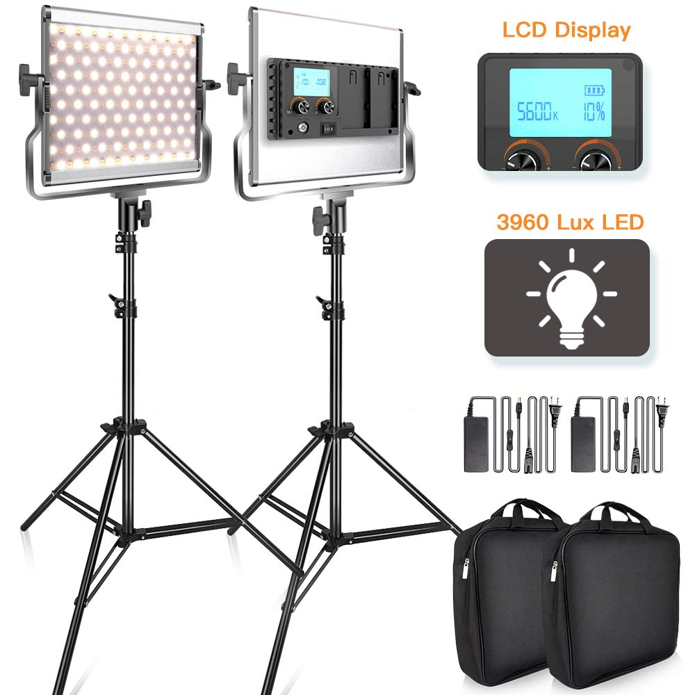 SAMTIAN 3960 Lux LED Video Light 3200-5600K 200 SMD LED Panel with LCD Display, CRI 96, U Bracket, 75 Inches Light Stand for YouTube Studio Photography, Video Shooting by SAMTIAN