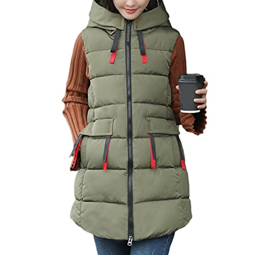 Zhhyltt Caliente para el invierno Fashion Feather Cotton Vest Autumn Winter New Korean Large Size Hooded Thick Waistcoat Vests