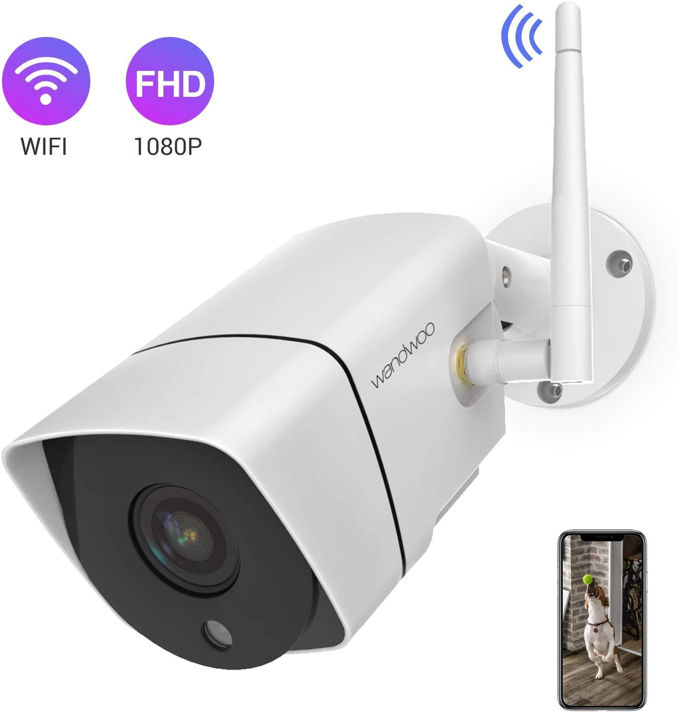 Security Camera Outdoor,Wandwoo 1080P Wireless WiFi IP Camera Support Motion Detection with Real-Time Alert,Waterproof,Night Vision,Outside Camera with SD Card Cloud Storage- iOS,Android App