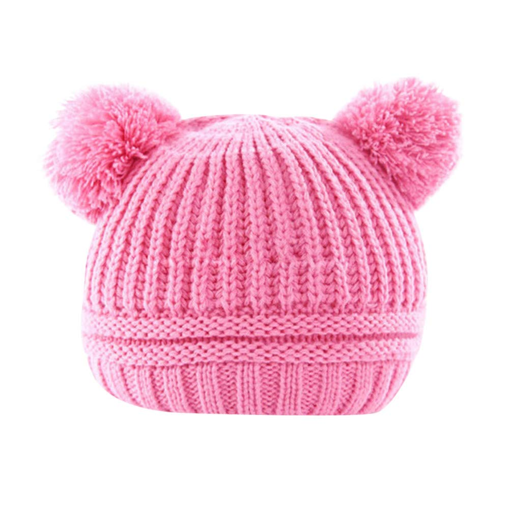 Newborn Winter Warm Hat,Jchen(TM) Toddler Baby Boys Girls Winter Keep Warm Crochet Knit Hat Infant Hairball Cap for 0-2 Y (Hot Pink)