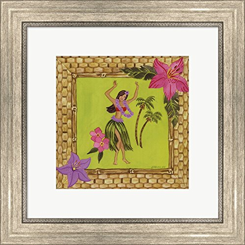 Tiki Girl I by Jennifer Brinley Framed Art Print Wall Picture, Silver Scoop Frame, 16 x 16 inches