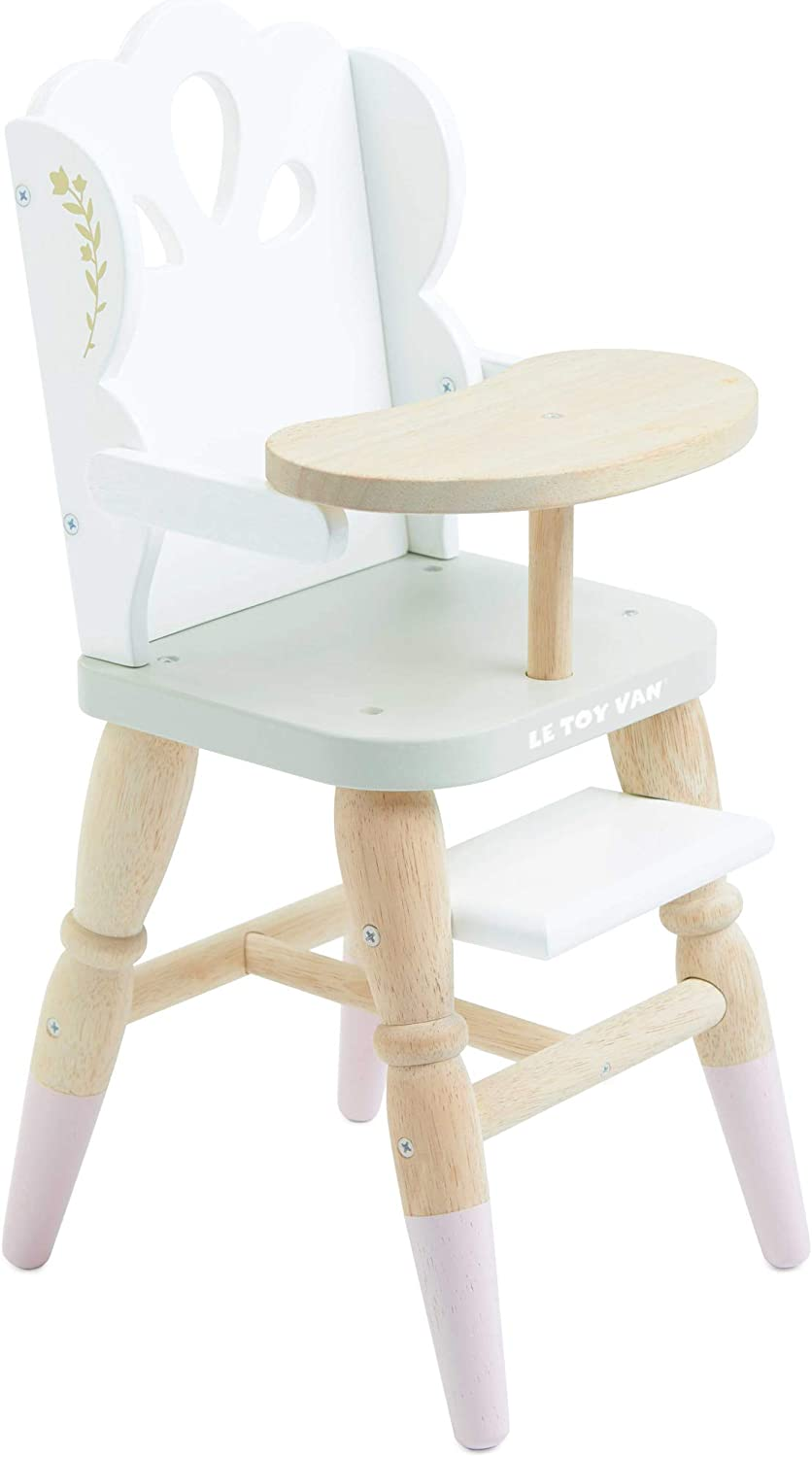 Le Toy Van - Educational Wooden Toy Role Play Beautiful Doll High Chair | Girls Pretend Play Toy Pram Playset - for Ages 3+ (TV601)