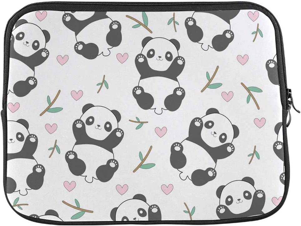 INTERESTPRINT Laptop Sleeve Case Cover Cartoon Style Cute Panda Pattern Notebook Computer Pouch Bag 13 Inch 13.3 Inch