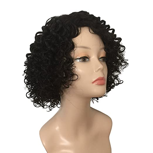 Amazon.com : BUTY Synthetic Short Curly Wig for Women Sexy Afro Style Natural Looking Ventilating Fluffy Tangle Free Female Pelucas, Off Black : Beauty