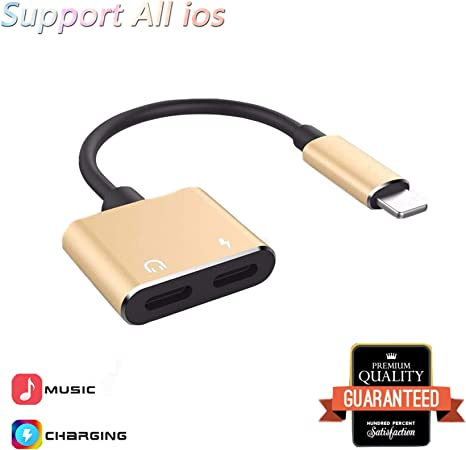 Headphone Adapter for iPhone X Adapter AUX Audio Jack 2 in 1 Cables for iPhone 8 Earphone Dongle Splitter Audio+Charge+Call+Volume Control for iPhone 7//XS//XR Convertor Support iOS 13 Syste 2 Pack