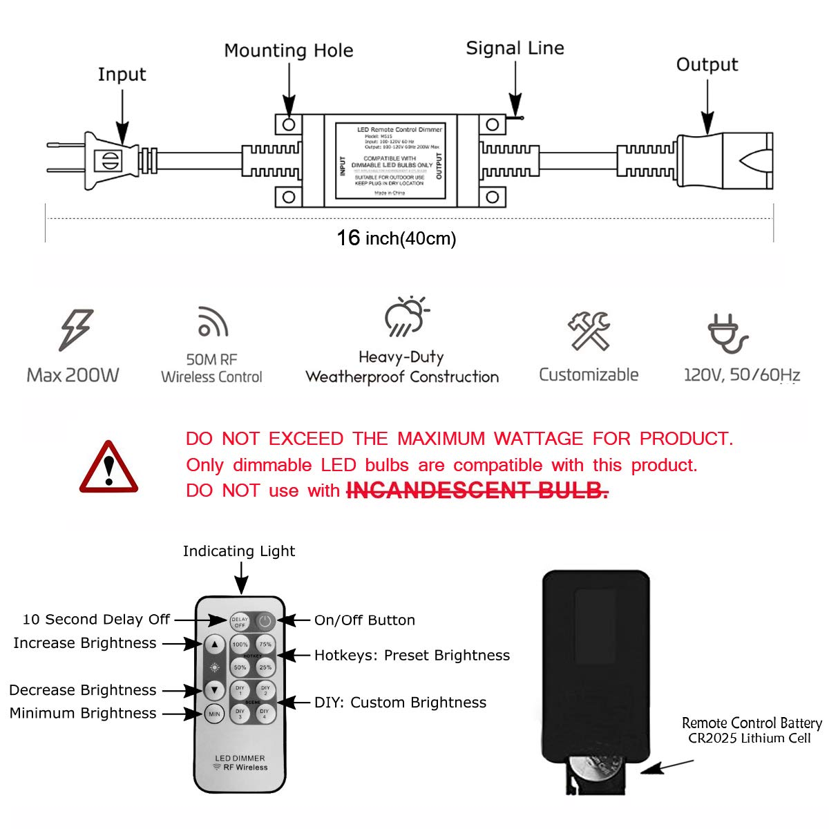 Outdoor Dimmer Wireless Rf Smart Plug In Switch Controlled Lightdimmer Remote Control Dimming Controller 200w Max Power 150ft Range Ip68 Waterproof Stepless