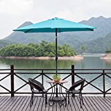 Cheap MYAL Patio Outdoor 9ft Market Umbrella with Push Button Tilt and Crank Turquoise