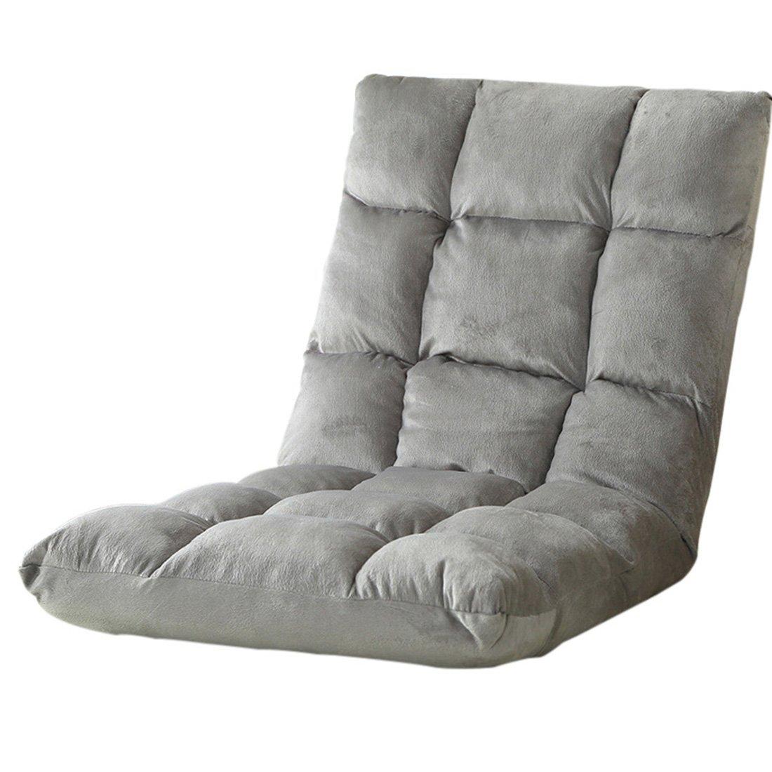 Jiyaru Adjustable Floor Chair Folding Cushion Lounger Gaming Padded Lazy Sofa Grey L