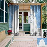 leinuoyi Animal, Outdoor Curtain Extra Wide, Mother Polar Bear Hugging Her Baby in The Snow North Winter Love Valentines Art, for Patio Furniture W120 x L96 Inch Blue White