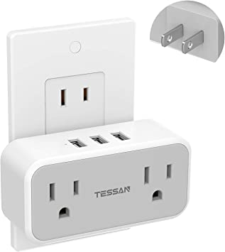 Travel USB Splitter for US to Japan Canada Mexico Philippine Type A 2 Prong to 3 Prong Outlet Adapter Multi Plug Outlet Extender TESSAN 2 Outlets with 3 USB Wall Charger