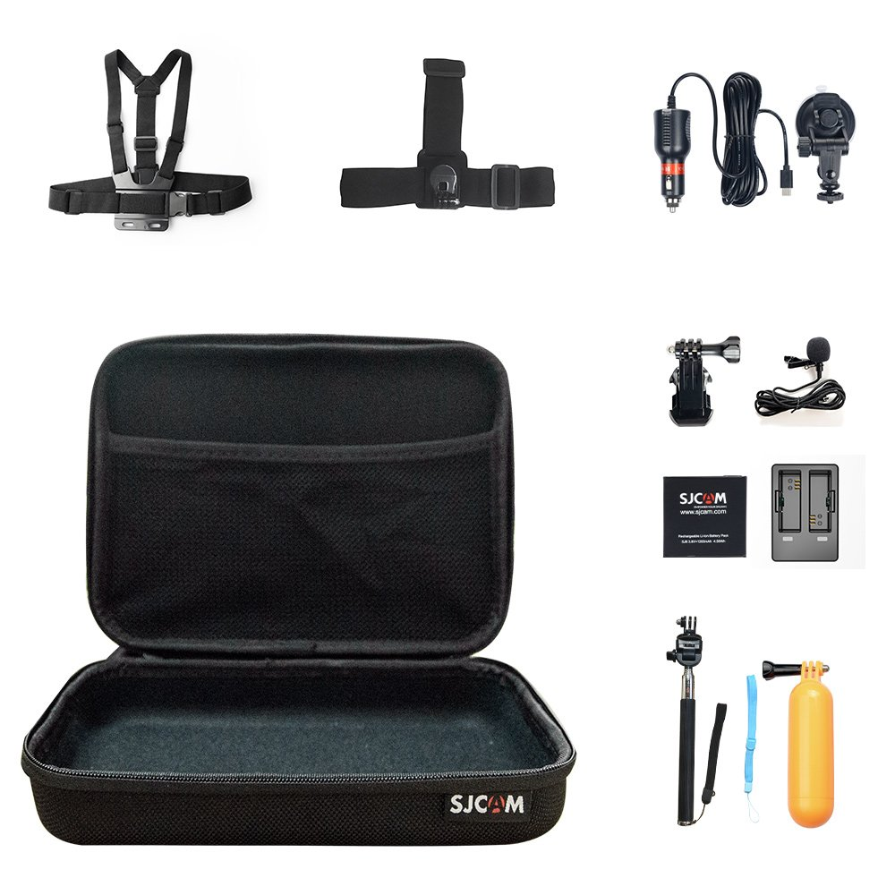 SJCAM SJ8 pro Accessories Kit, Rechargeable Battery+Dual Charger+Microphone+Car Charger+Head Strap +Chest Strap+Selfie Stick+Floating Handle Grip +Long Screw+J-Hook Buckle(10 in 1)