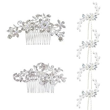 Haarnadeln mit Perle und Strass 10 Stück Brautschmuck Kopfschmuck Haarschmuck