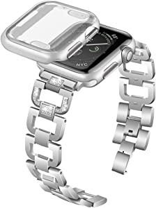 Tomplus Compatible Apple Watch Band with Case 42mm, Diamond Rhinestone, Stainless Steel, Metal Strap with Apple Watch Screen Protector for Apple Watch Series 3&2 (Silver, 42mm)