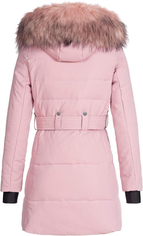 Rock Creek D-435 - Giacca invernale da donna con collo in pelliccia sintetica Colore: Rosa.