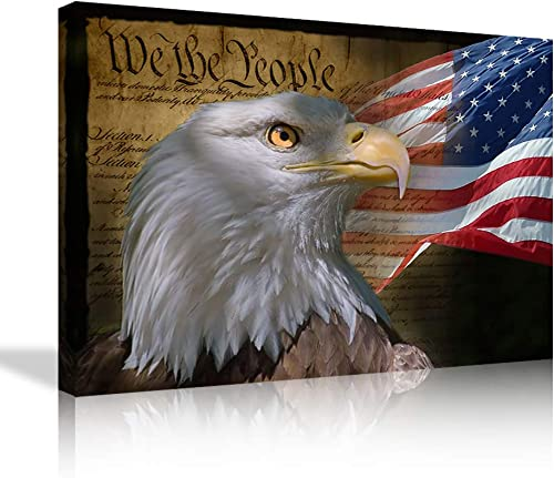 AMEMNY Vintage Eagle Canvas Wall Art US USA American Flag Prints Artwork Wall Decor Home Picture