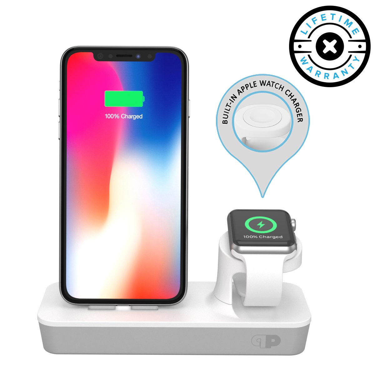ONE Dock Duo (APPLE CERTIFIED) Power Station Dock, Stand & Charger with Built-in ORIGINAL Charger for Apple Watch Smart Watch (Series 1,2,3, Nike+), iPhone X/10/8/8 Plus/7/7Plus/6s/6s, & iPod - White