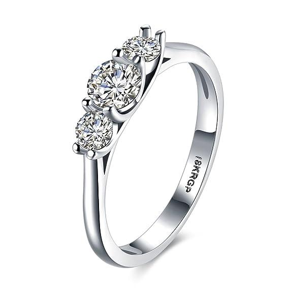 2 opinioni per Anelli di fidanzamento dell'anello di nozze Anelli in oro bianco 18K placcati