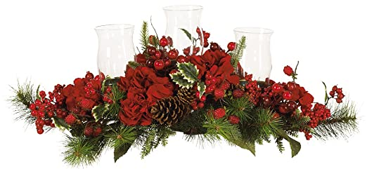 Christmas Tablescape Décor - Three glass hurricane candle holders red Christmas candelabrum with hydrangea, holly, pine cone, berry & evergreens