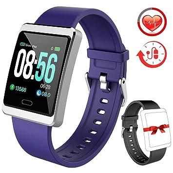 Rayfit Pulsera Actividad Reloj Inteligente Mujer Hombre Monitor de Ritmo Cardíaco Presión Arterial Fitness Tracker Contador de Calorías Pasos Monitor ...