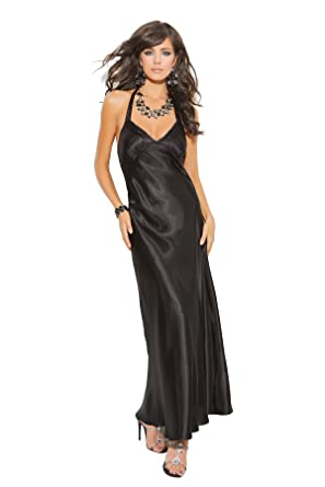 Amazon.com: Women\'s Charmeuse Satin Halter Neck Long Sleepwear Gown ...