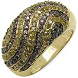 1.34 ct. t.w. Genuine Yellow and Brown Diamond Ring in Sterling Silver