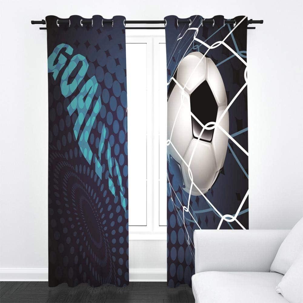 Thermo Gardinen Blickdicht Fu/ßball Vorh/änge f/ür Schlafzimmer Dekoschal mit /Ösen,Polyester Blau JYNVOAT Vorhang Blickdicht Kinderzimmer 2er Set B 70 x H 160 cm