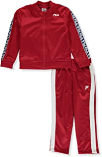 Fila Little Boys' Logo Tape Tricot 2-Piece Tracksuit Pants Set - red, 4