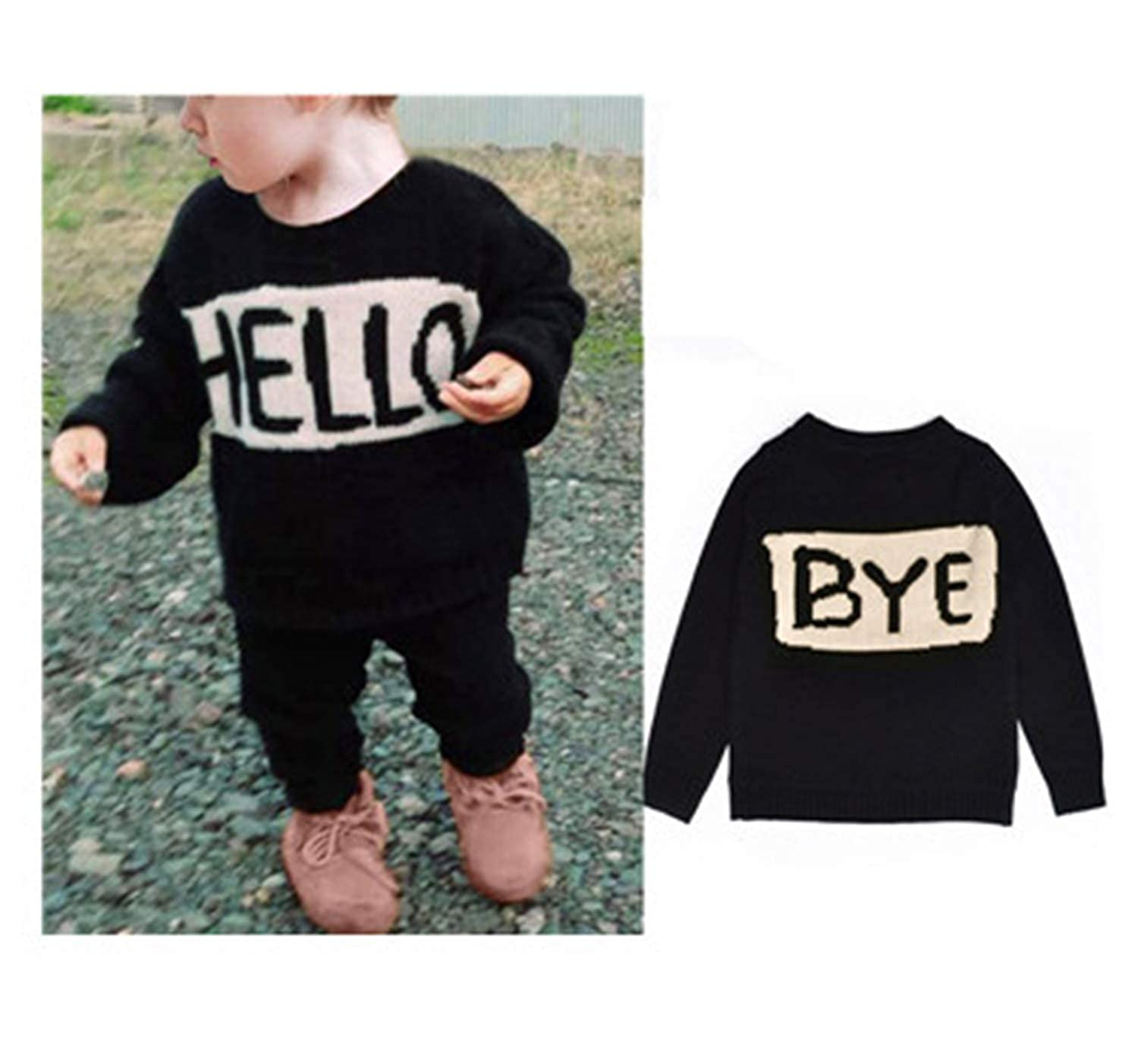 Cute Baby Girls Boys Hello Letter Style Sweaters Kids Knit Cardigan Coat Tops 1-7Y