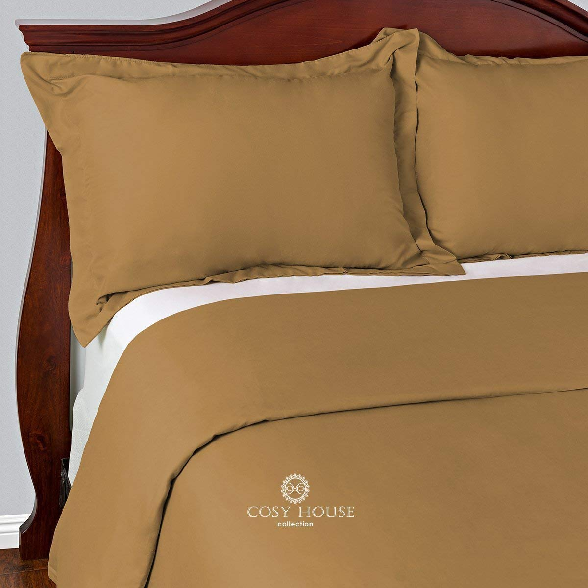 Cosy House Collection Duvet Cover Set - 1500 Series Ultra Soft Hypoallergenic Luxury Hotel Quality Bedding - Protects Comforters & Duvets Inserts - Includes 2 Pillow Shams (King/Cal King, Gold)
