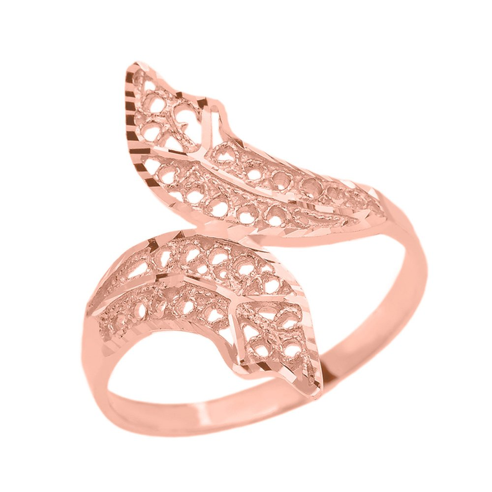 Double Leaf Filigree Ring in Polished 14k Rose Gold (Size 8.5) by Modern Contemporary Rings