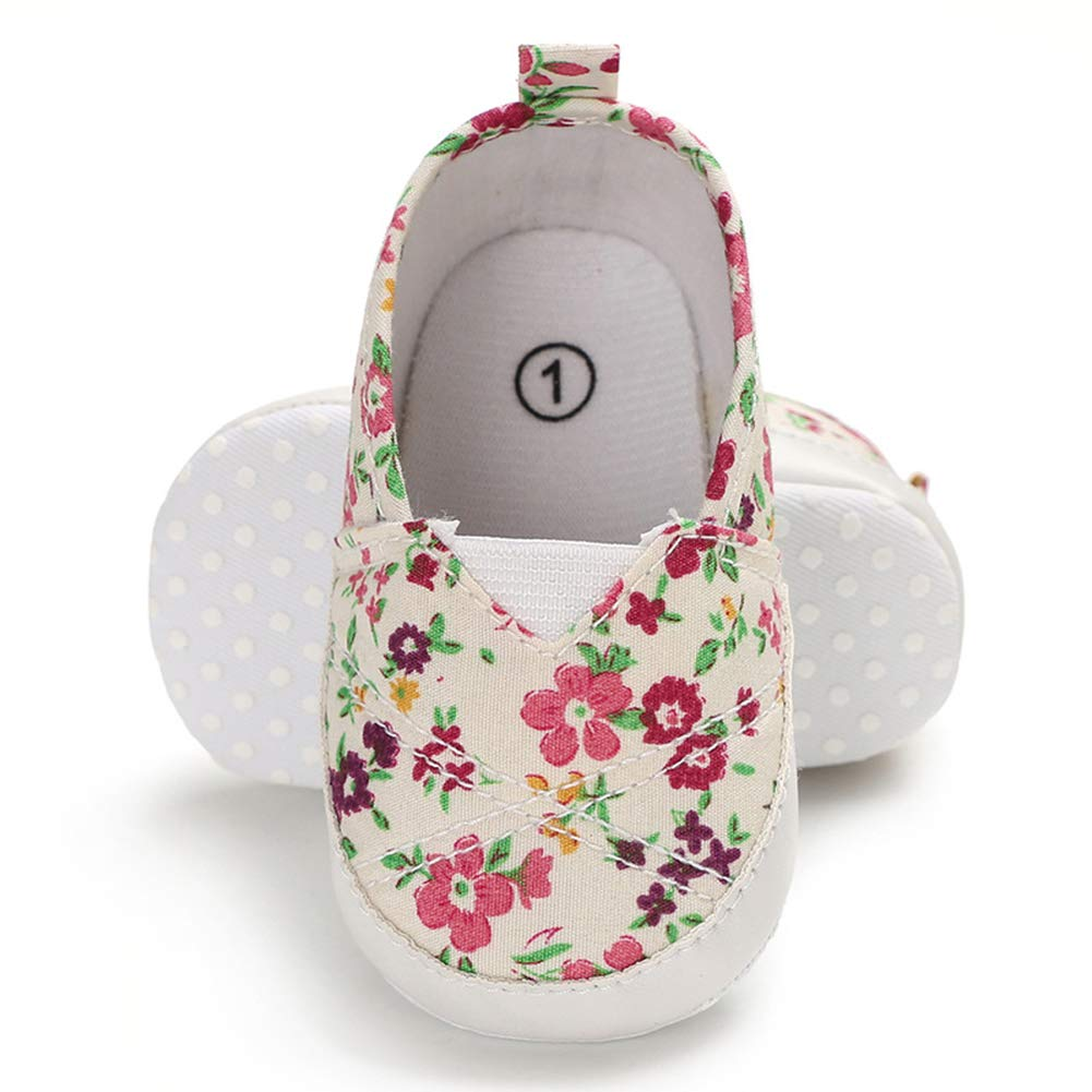 8-11M Alamana Lovely Solid Color Flower Newborn Baby Anti-Slip Soft Sole Prewalker Toddler Shoes White 13