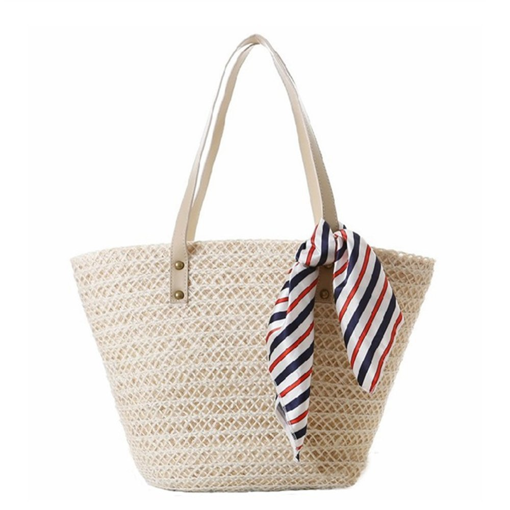 new summer contrast color beach travel straw tote hand bag for woman
