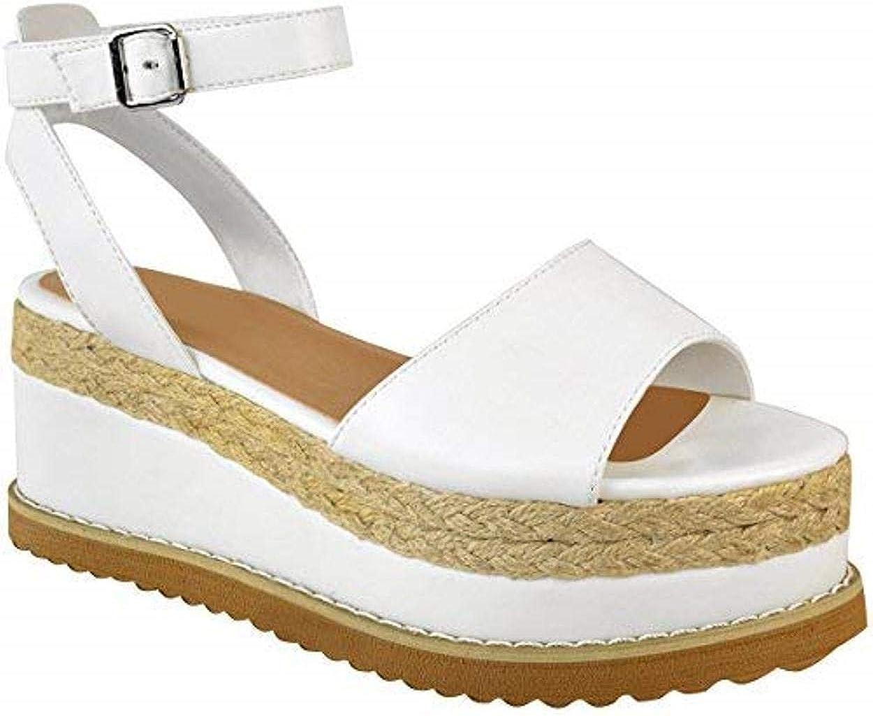 New Look Marron espadrilles compensées plateforme en Cuir Synthétique Sandales Chaussures Taille 4
