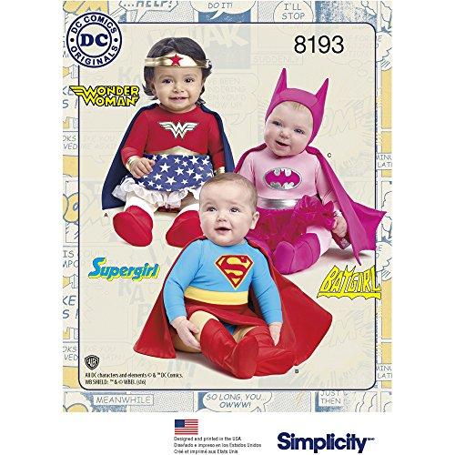 Simplicity 8193 Babies' Super Hero Costumes, A (Wonder Woman Costumes Pattern)