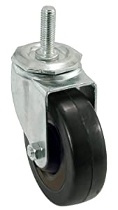 Shepherd Hardware 9024 5-Inch Soft Rubber Swivel Stem Caster, 1/2-Inch Stem Diameter, 225-lb Load Capacity