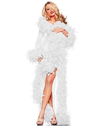 3226ba22c0 Be Wicked BW834W Women s White Feather Glamour Robe