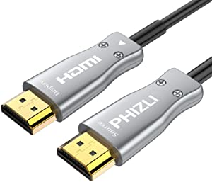 Fiber Optic HDMI Cable 50ft 4K HDR 60Hz,Phizli Fiber HDMI Support 2.0b Premium High-Speed Slim and Flexible 18Gbps 3D 4:4:4/4:2:2/4:2:0 Suitable for Apple TV, HDTV, Roku TV Box, Playstation 4 PS3,Xbox