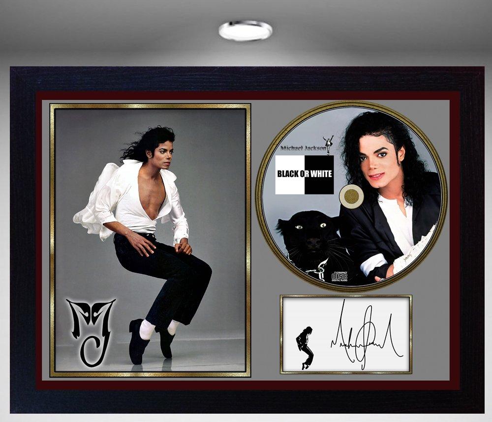 SGH SERVICES Michael Jackson Signé e Encadré e Photo CD Disc Noir ou Blanc Cadeau Parfait # 2