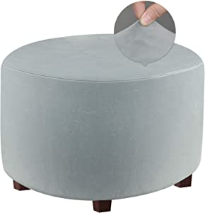 """DUJUIKE Round Ottoman Covers Slipcover Stretch Micro Plush Velvet Footrest Stool Ottoman Slipcover Protector, Machine Washable (Light Grey, Size M:Diameter:20-23""""/Height:17-18"""")"""