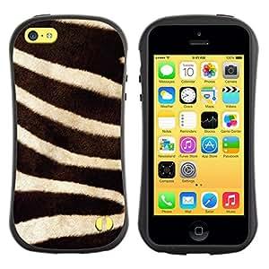 "Hypernova Slim Fit Dual Barniz Protector Caso Case Funda Para Apple iPhone 5C [Rayas Negro Blanco de la naturaleza animal""]"